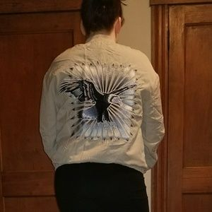 Zip up jacket with embroidered eagle on back